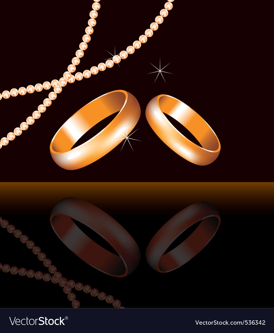 golden wedding rings and pearl beads vector | Price: 1 Credit (USD $1)