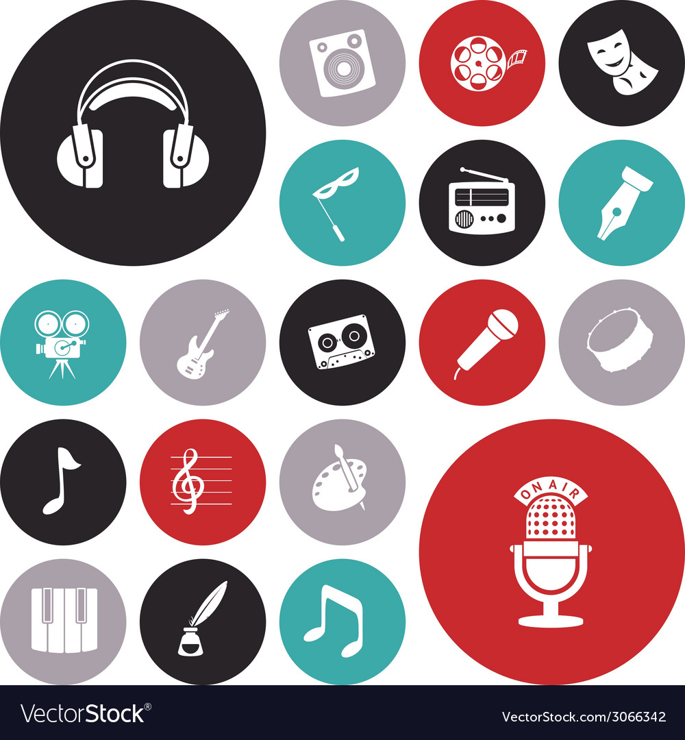 Icons tiled art music sound vector | Price: 1 Credit (USD $1)