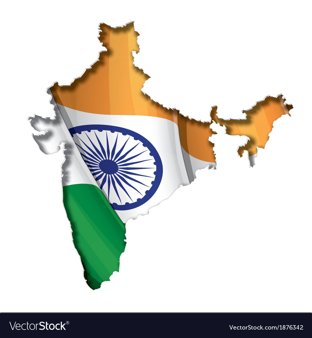 Indian map flag vector | Price: 1 Credit (USD $1)