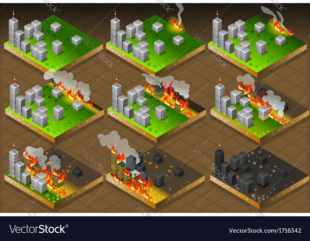 Isometric fire disaster classifications scale vector | Price: 1 Credit (USD $1)