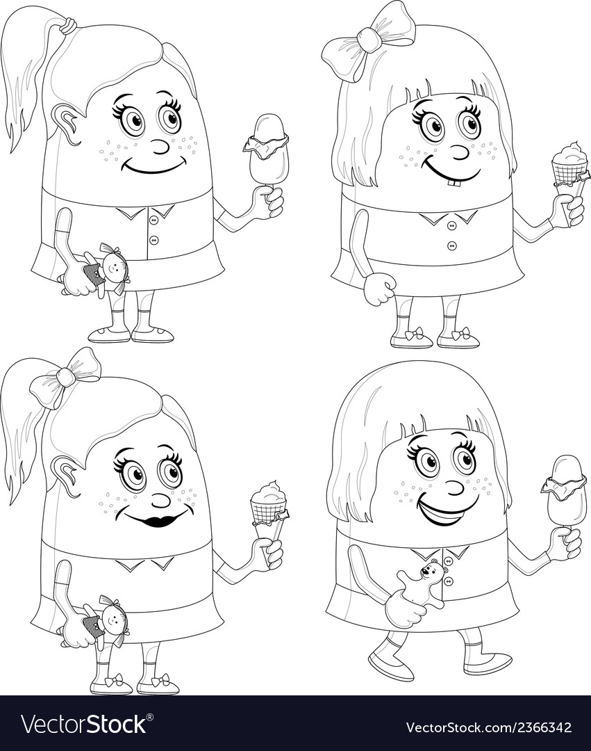 Little girls with ice cream set contour vector | Price: 1 Credit (USD $1)