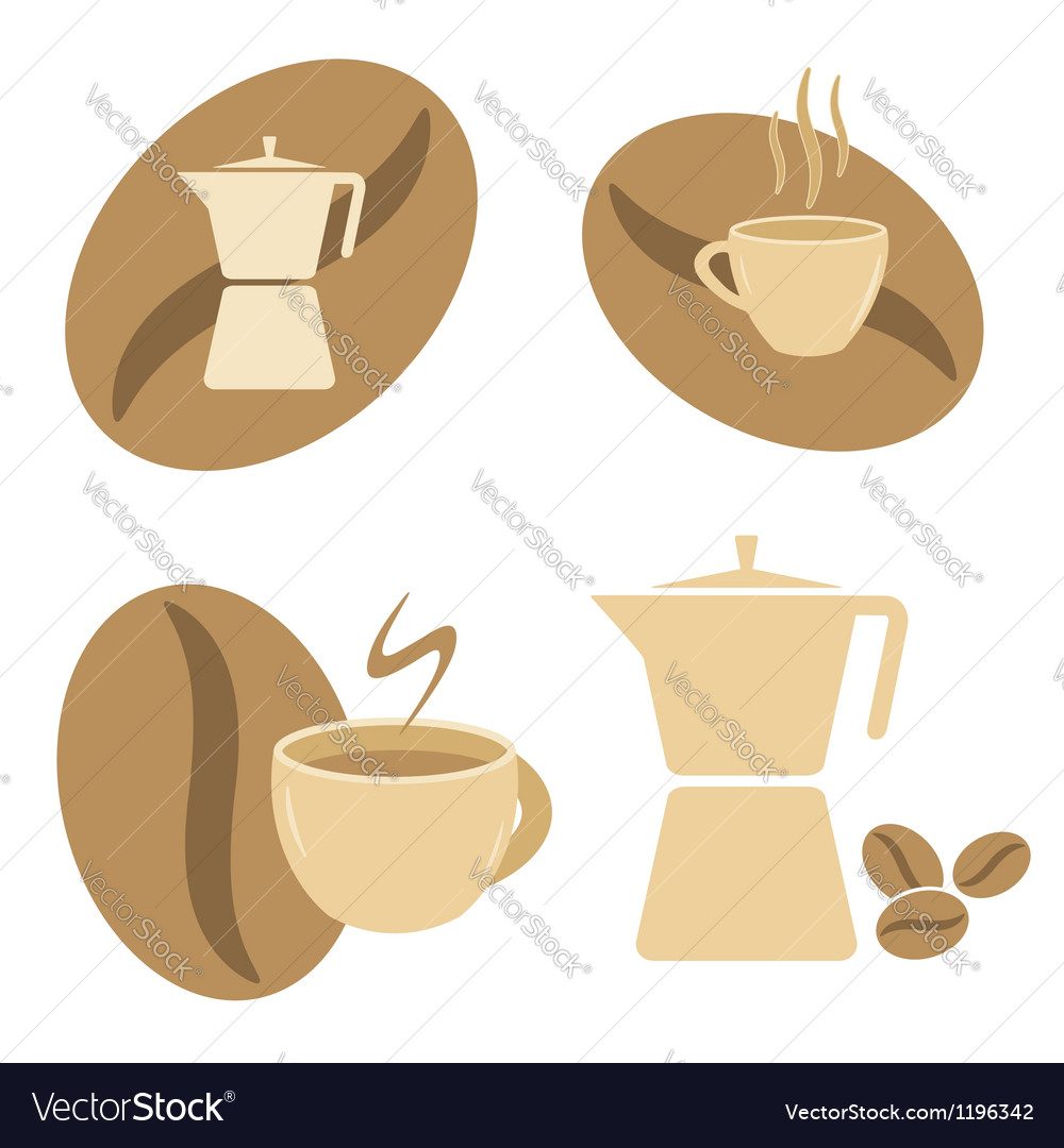Mokka pot coffee cups and beans vector | Price: 1 Credit (USD $1)