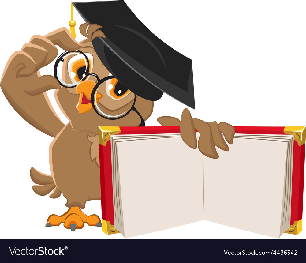 Owl holding open book vector | Price: 3 Credit (USD $3)