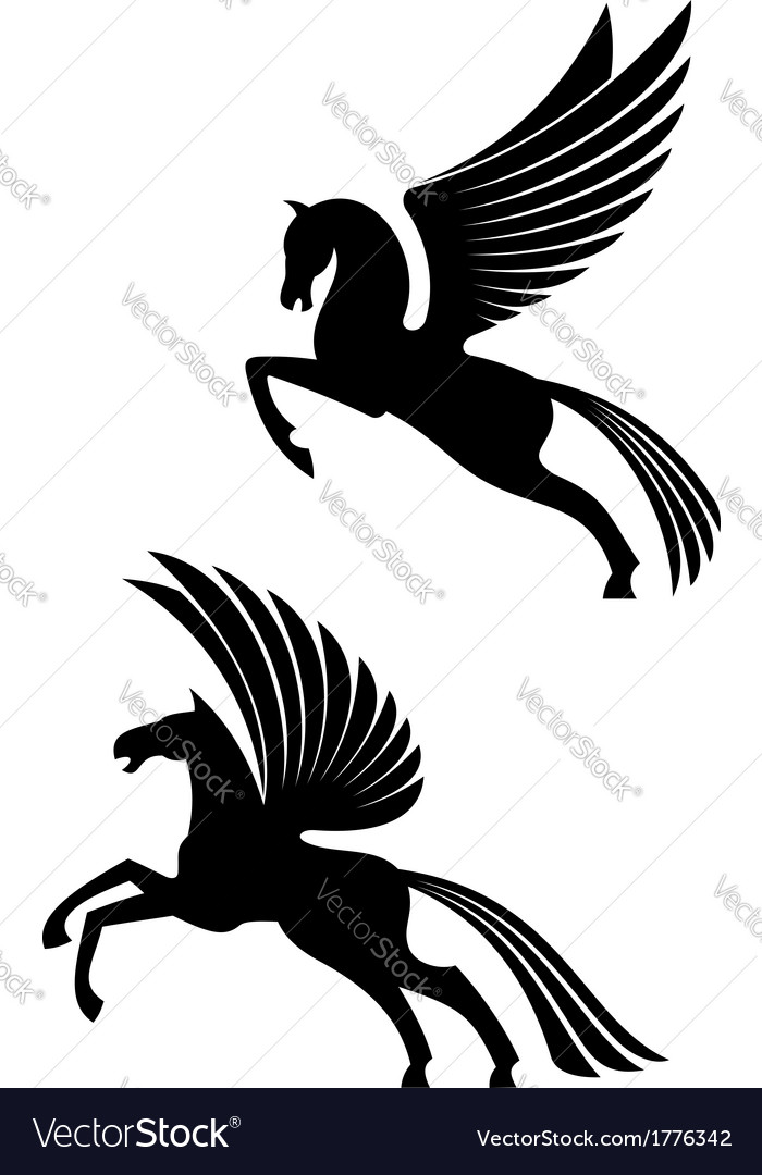 Pegasus winged horses vector | Price: 1 Credit (USD $1)