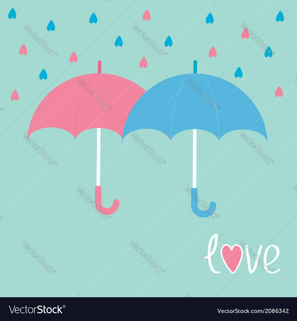 Pink and blue umbrellas rain in shape of hearts lo vector | Price: 1 Credit (USD $1)