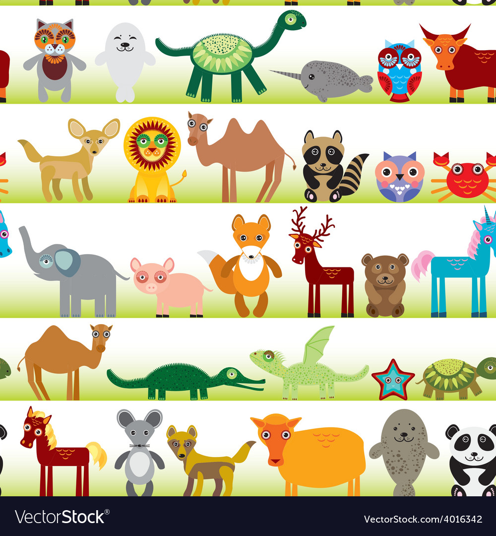 Set of funny cartoon animals character on white vector | Price: 1 Credit (USD $1)