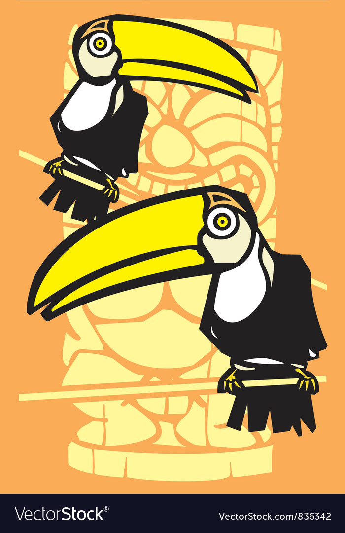 Two toucans and tiki vector | Price: 1 Credit (USD $1)
