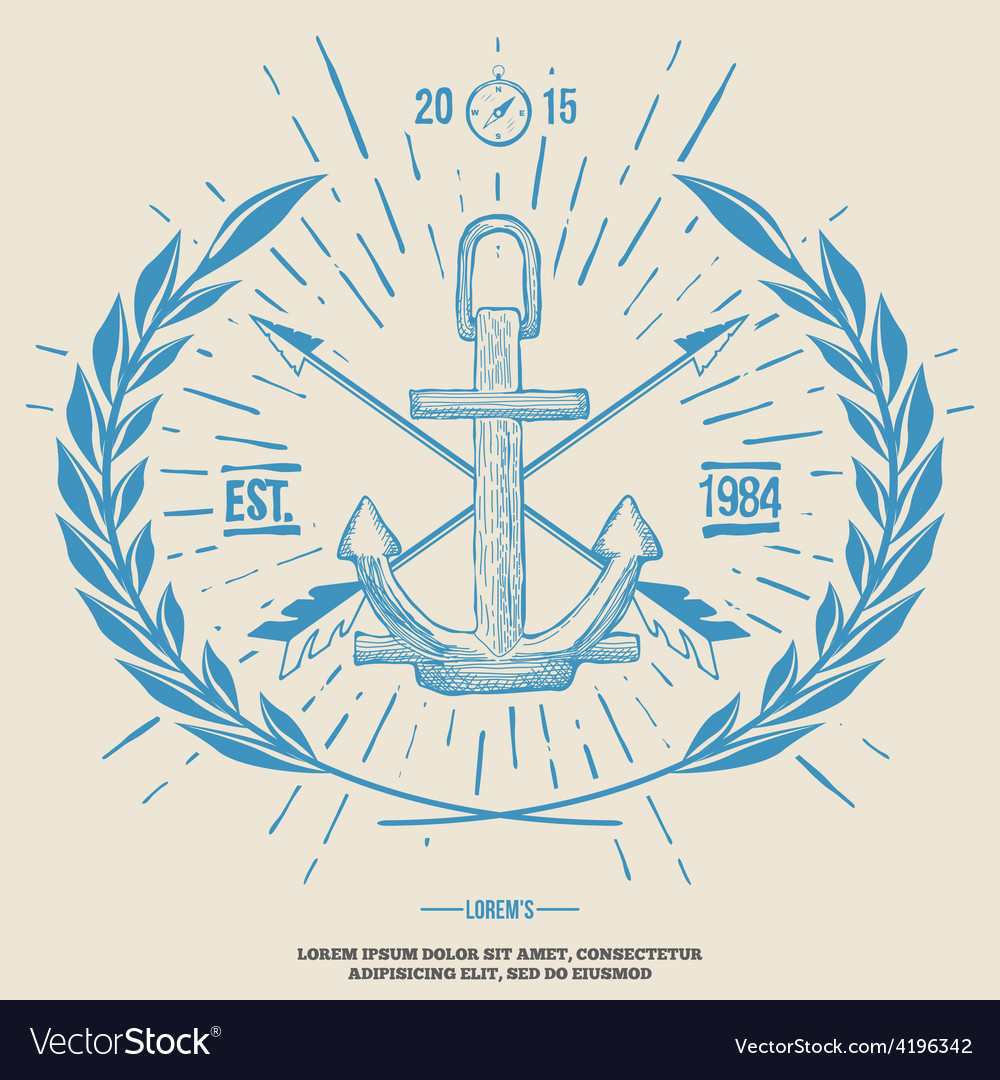 Vintage hipster logo crossed arrows with anchor vector | Price: 1 Credit (USD $1)
