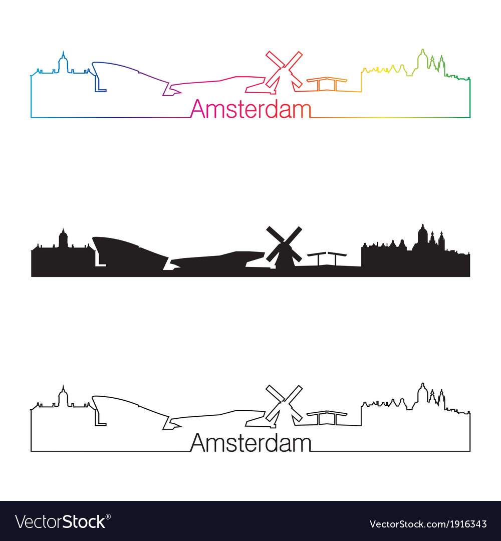 Amsterdam skyline linear style with rainbow vector | Price: 1 Credit (USD $1)