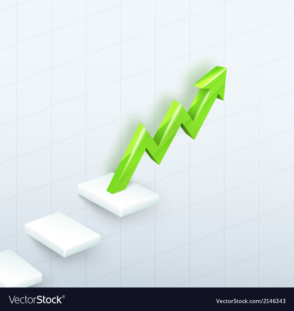 Arrow graph with steps up vector | Price: 1 Credit (USD $1)