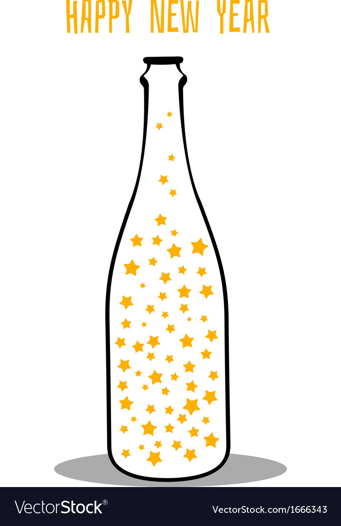 Champagne with the stars vector | Price: 1 Credit (USD $1)