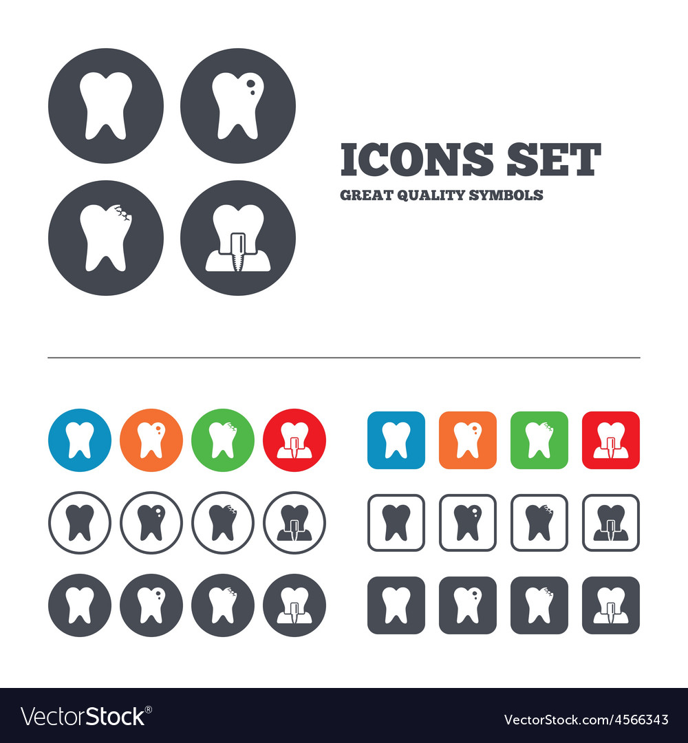 Dental care icons caries tooth and implant vector | Price: 1 Credit (USD $1)