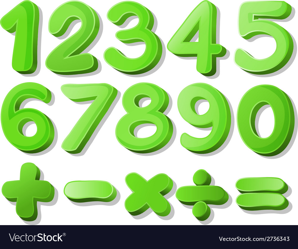 Green numbers vector | Price: 1 Credit (USD $1)