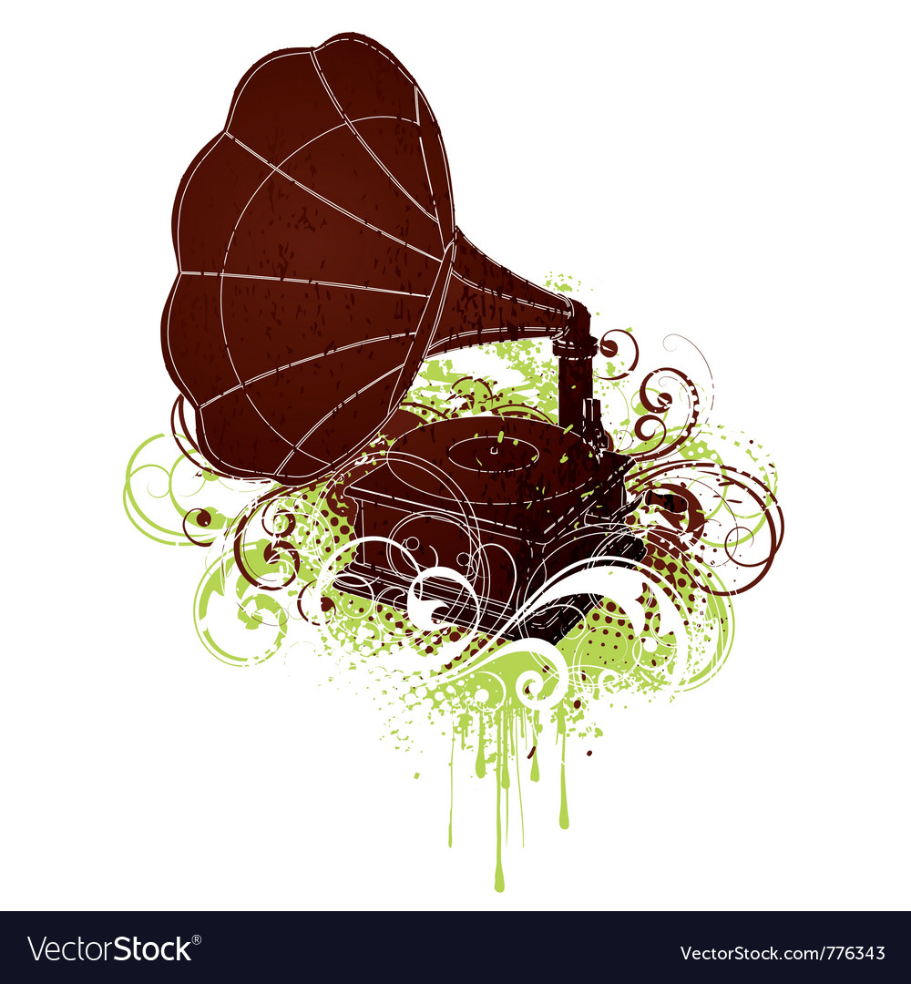 Grunge gramophone vector | Price: 1 Credit (USD $1)