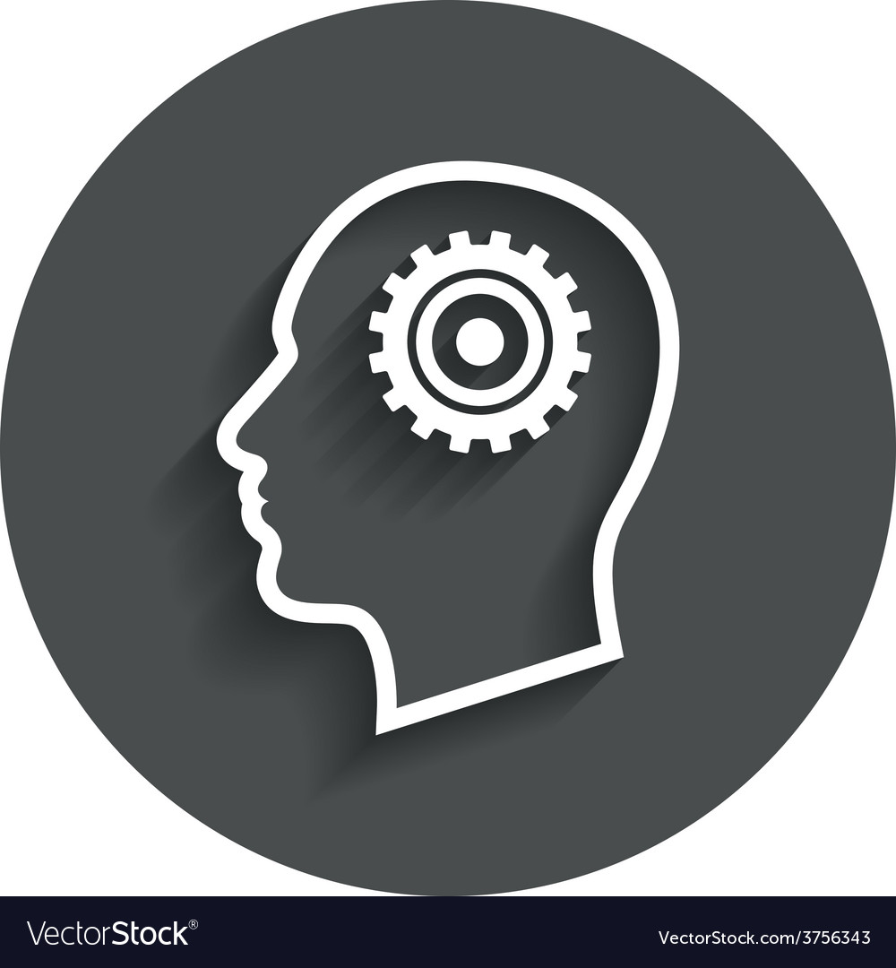 Head with gear sign icon male human head vector | Price: 1 Credit (USD $1)
