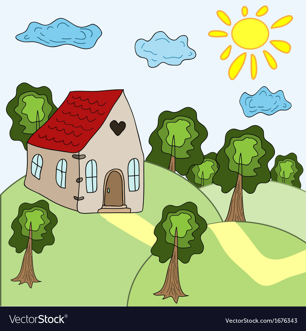 House and summer landscape vector | Price: 1 Credit (USD $1)