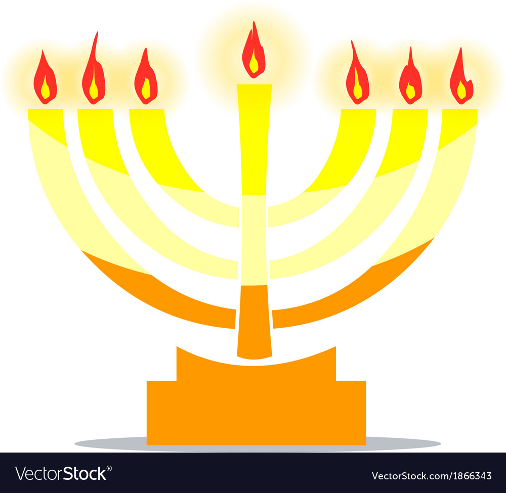 Jewish lamp menora with lights vector | Price: 1 Credit (USD $1)