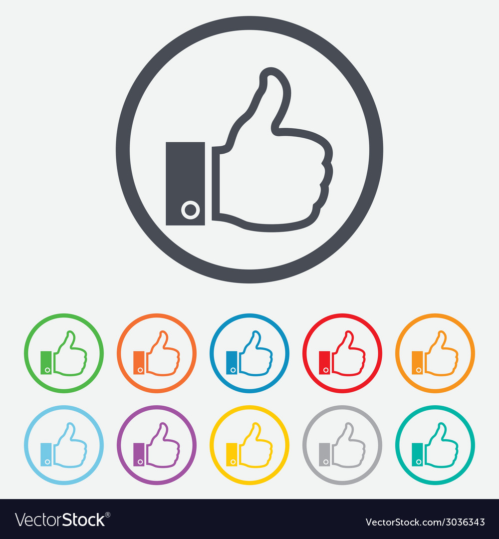 Like sign icon hand finger up symbol vector | Price: 1 Credit (USD $1)