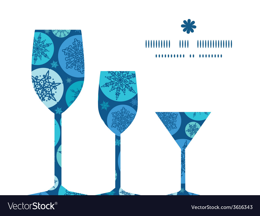 Round snowflakes three wine glasses silhouettes vector | Price: 1 Credit (USD $1)