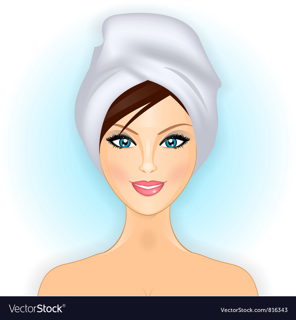 Smiling girl with towel vector | Price: 1 Credit (USD $1)