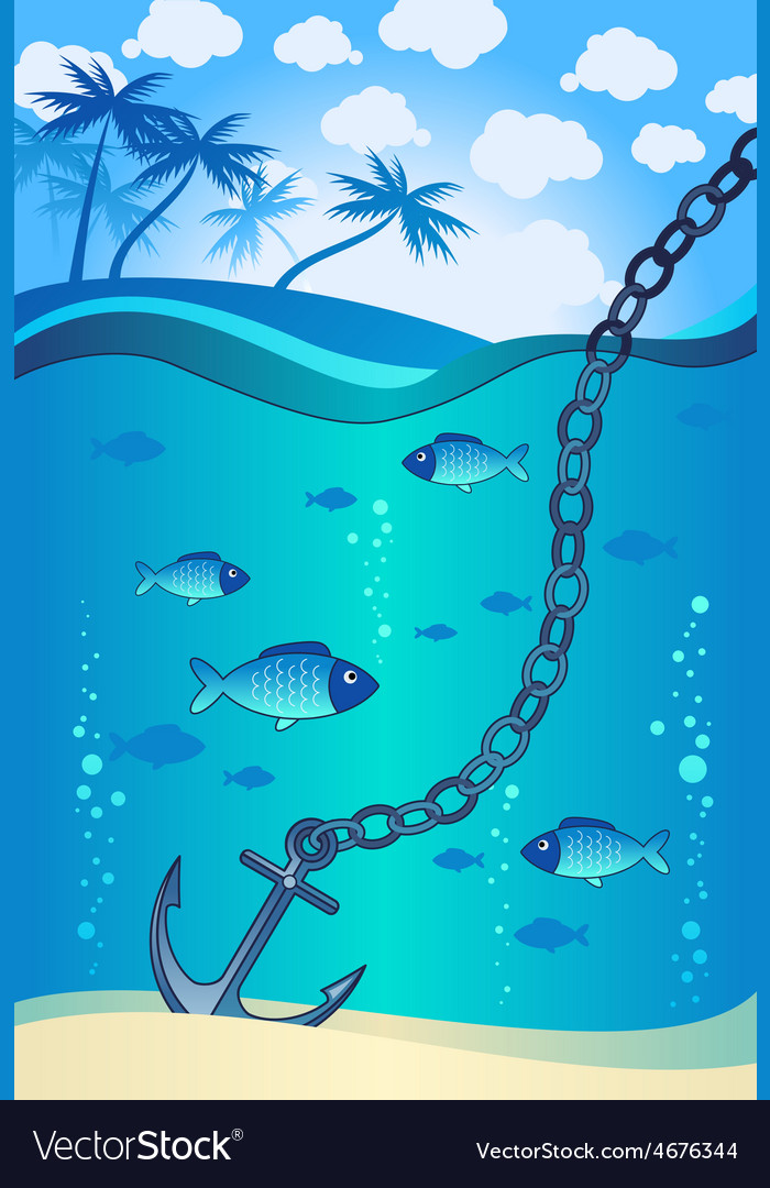 Anchor in the water near the tropical island vector | Price: 3 Credit (USD $3)