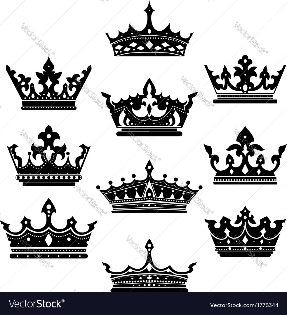 Black crowns set for heraldry design vector | Price: 1 Credit (USD $1)