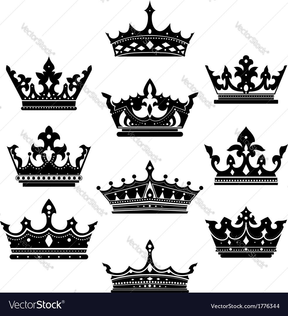 Black crowns set for heraldry design vector | Price: 1 Credit (USD $1)