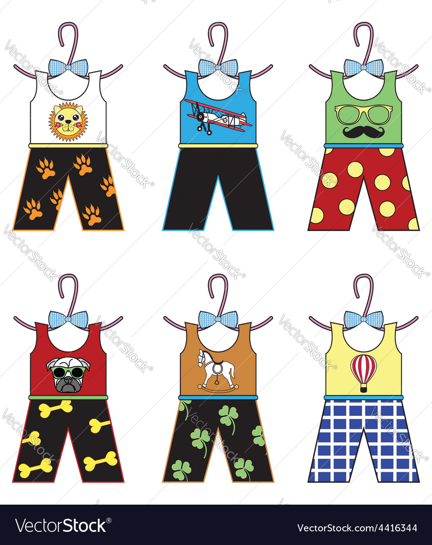 Boys wardrobe tops and trousers vector | Price: 1 Credit (USD $1)