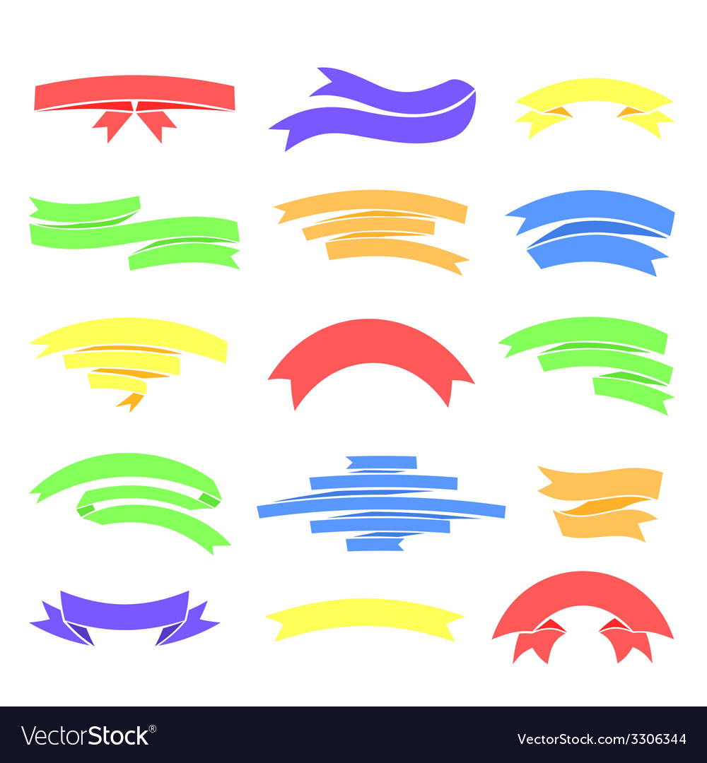 Colorful ribons set isolaten on background vector   Price: 1 Credit (USD $1)