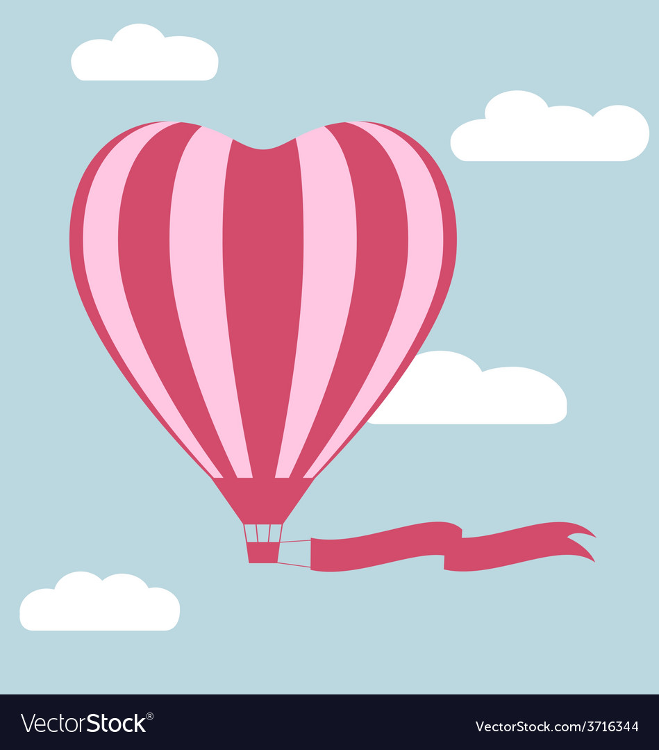 Flat hot air balloon in the shape of a heart with vector   Price: 1 Credit (USD $1)