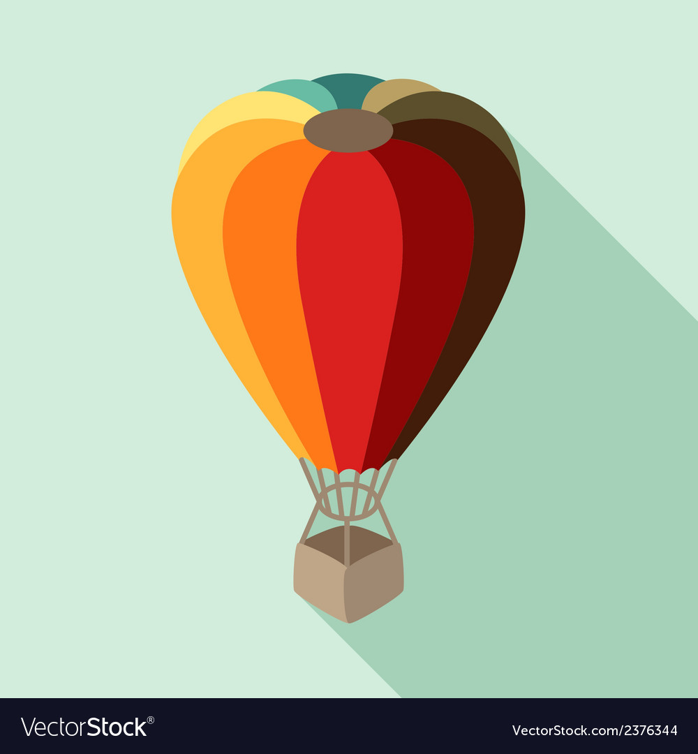 Hot air balloon in flat design style vector | Price: 1 Credit (USD $1)