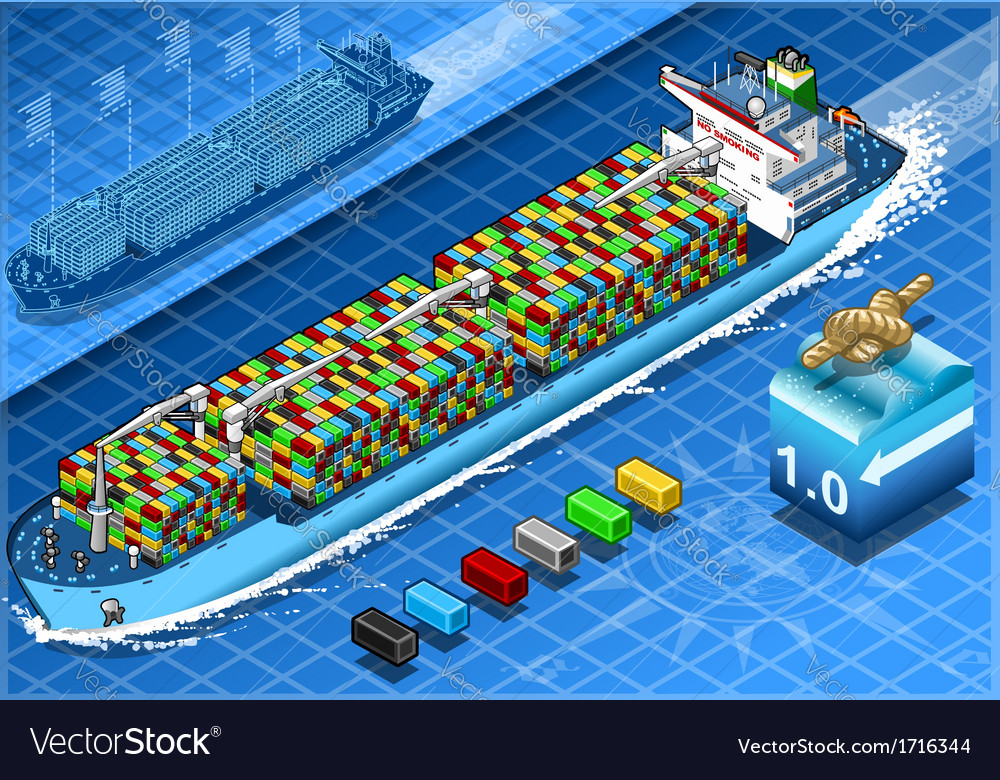 Isometric cargo ship with containers in navigation vector | Price: 1 Credit (USD $1)