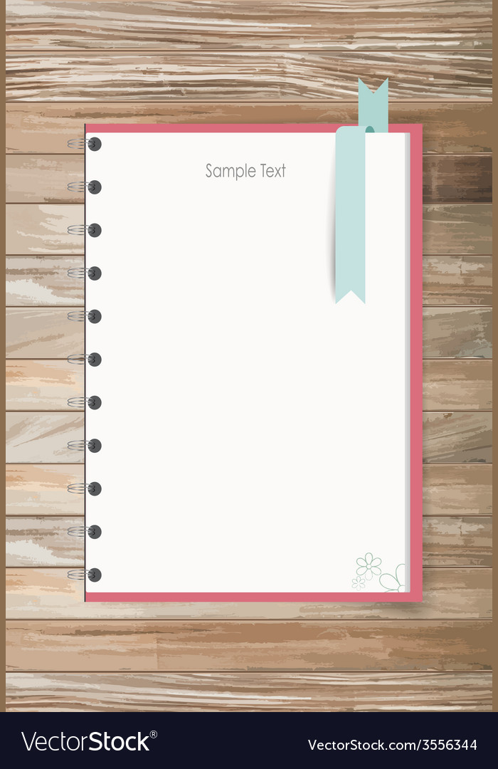 Note book on a wooden desk vector | Price: 1 Credit (USD $1)