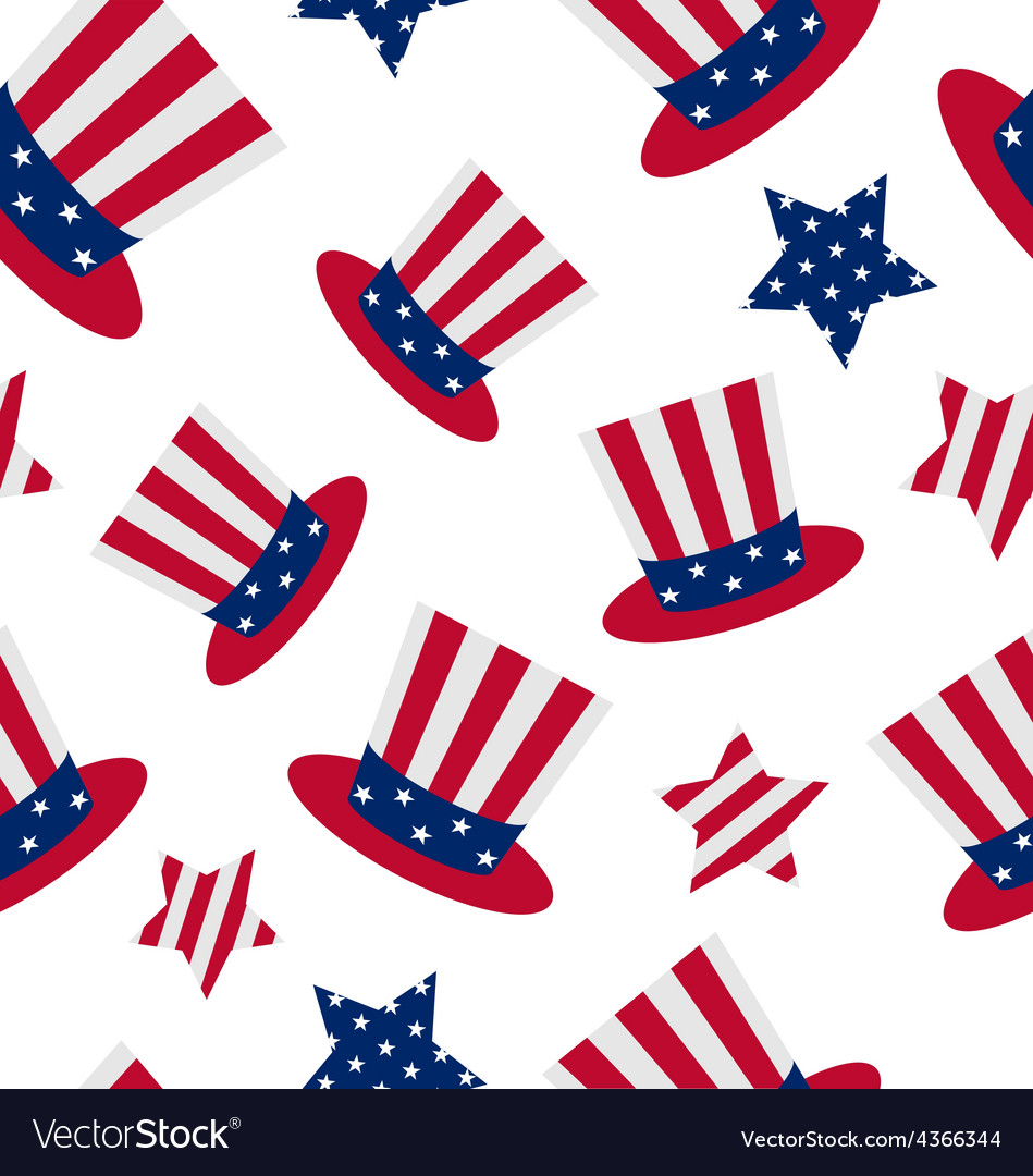 Seamless pattern with uncle sams top hat and stars vector   Price: 1 Credit (USD $1)