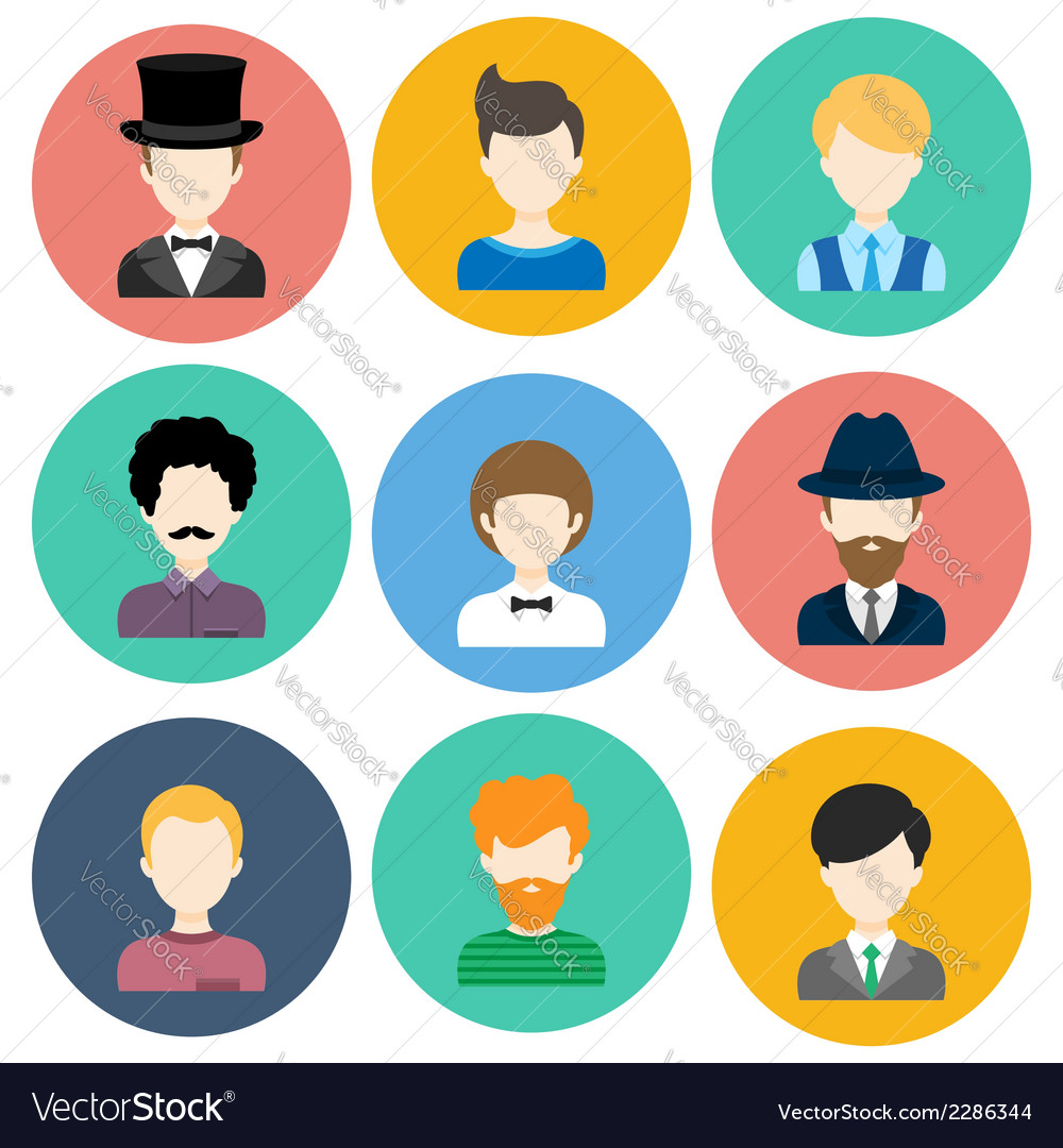 Set of flat icons with man characters vector   Price: 1 Credit (USD $1)