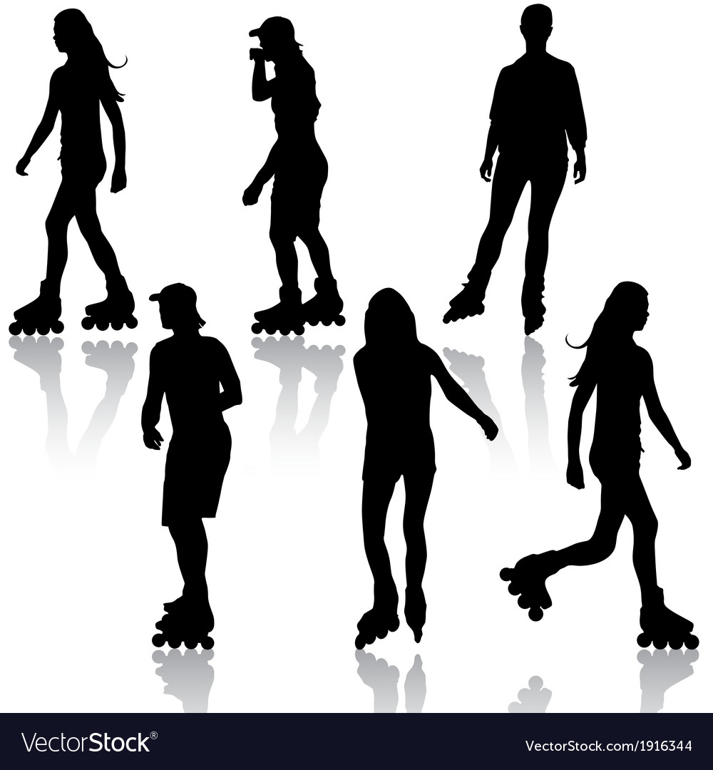 Silhouettes of people rollerskating vector | Price: 1 Credit (USD $1)
