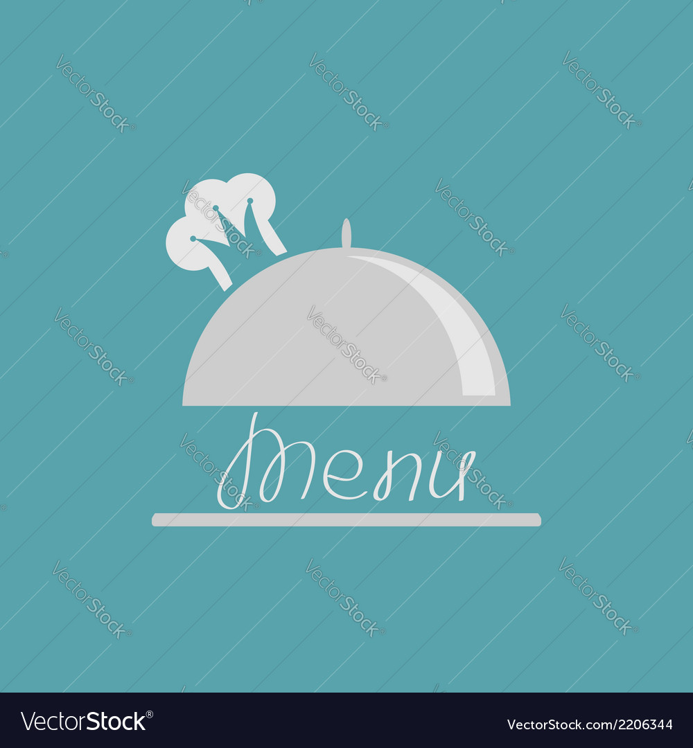 Silver platter cloche with chef hat crown menu vector | Price: 1 Credit (USD $1)