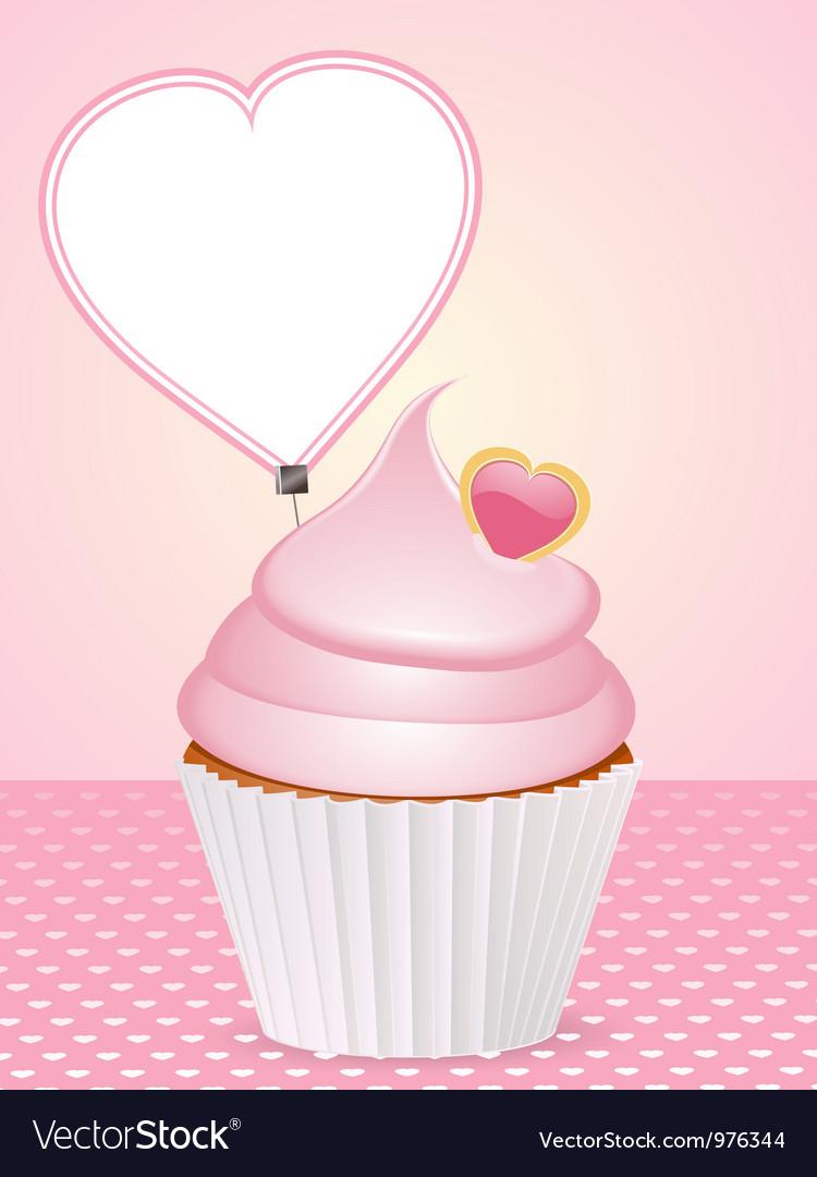 Valentine cupcake background vector | Price: 1 Credit (USD $1)