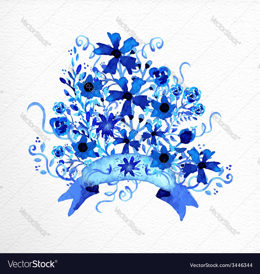 Watercolor hand drawn flowers bouquet vector   Price: 1 Credit (USD $1)