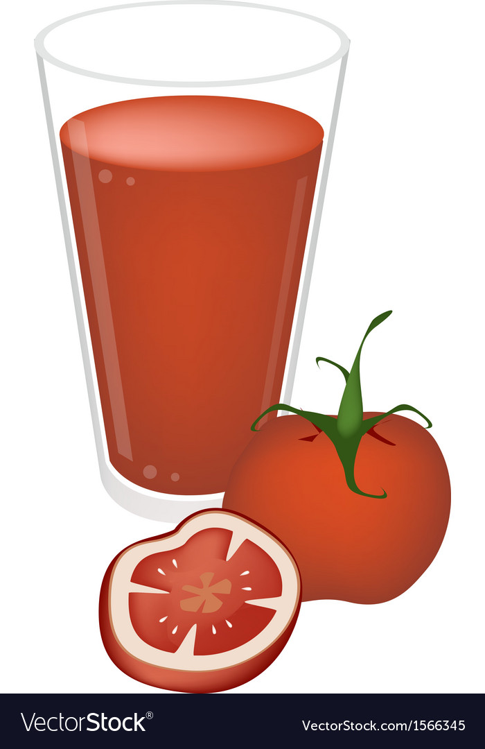 A glass of tomatoes juice with tomatoes fruit vector | Price: 1 Credit (USD $1)