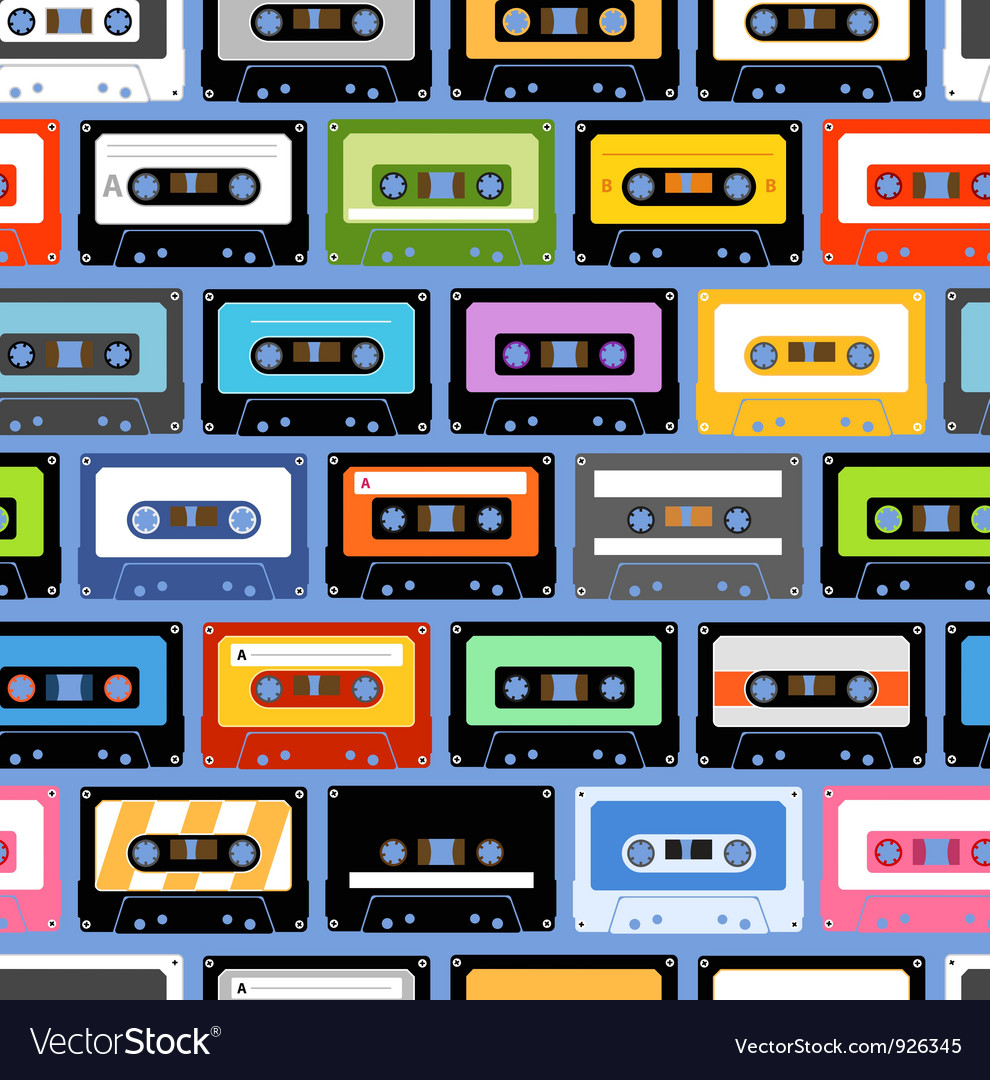 Cassettes seamless texture vector | Price: 1 Credit (USD $1)