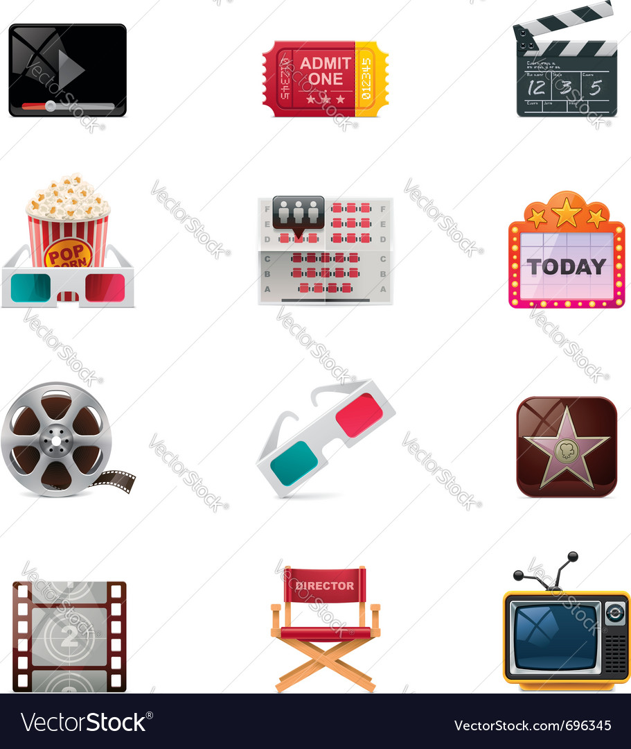Cinema icon set vector | Price: 3 Credit (USD $3)
