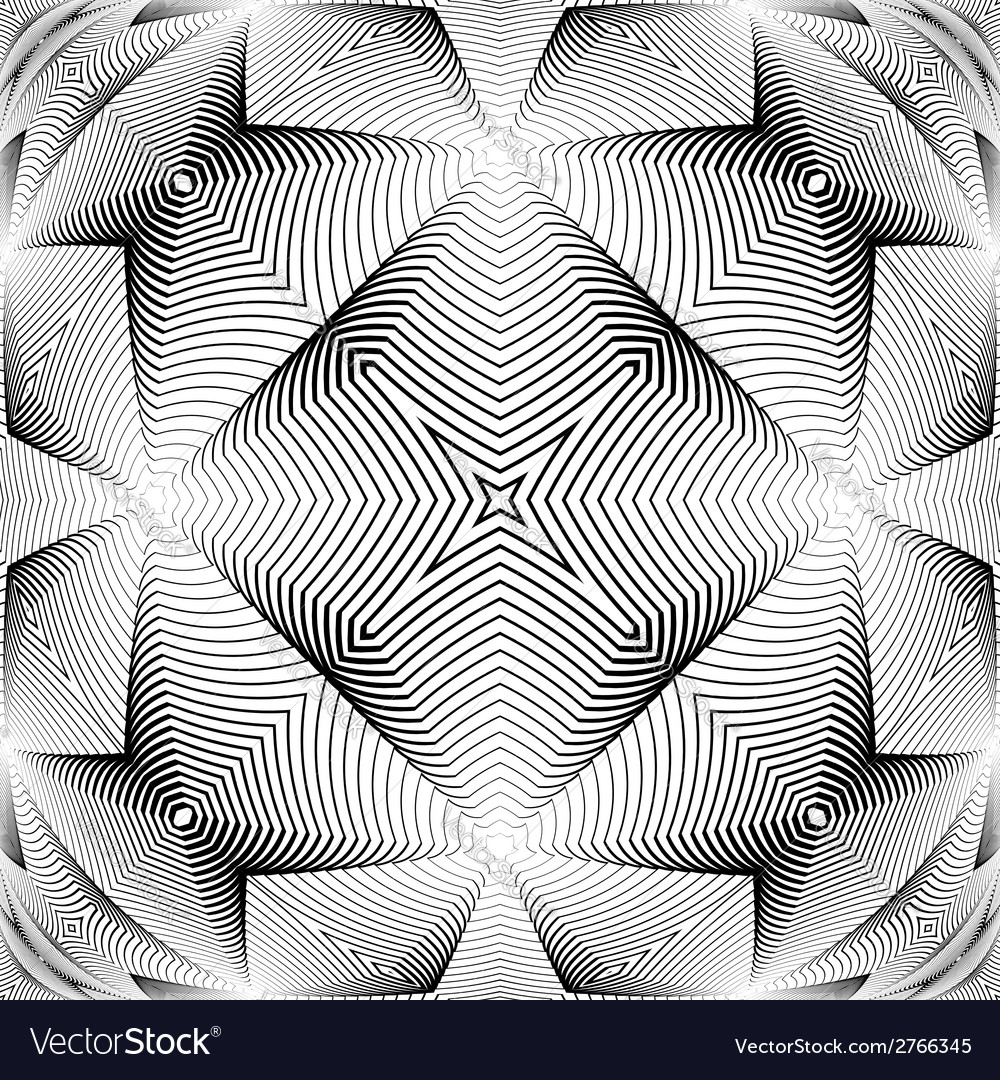 Design monochrome warped grid decorative pattern vector | Price: 1 Credit (USD $1)