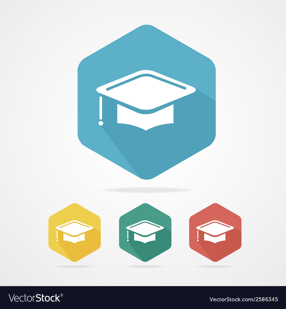 Education cup flat icon graduation cap vector | Price: 1 Credit (USD $1)