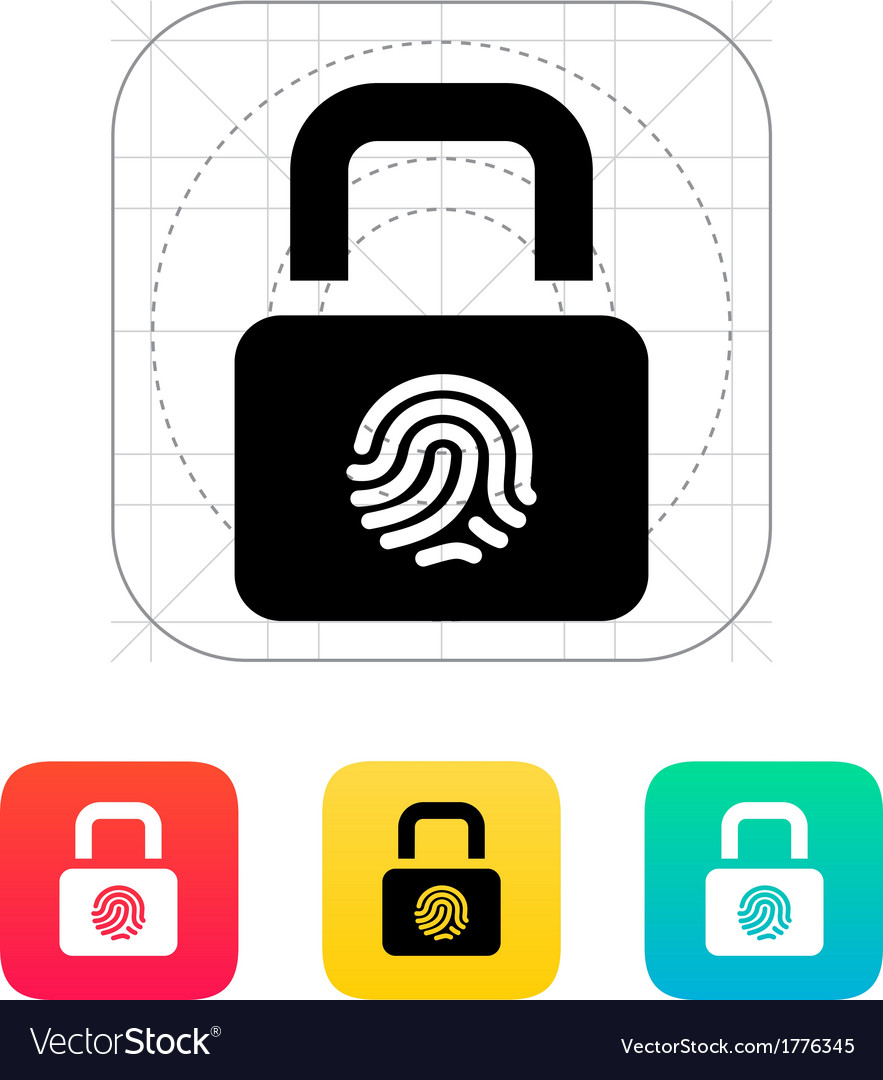 Fingerprint secure lock icon vector | Price: 1 Credit (USD $1)