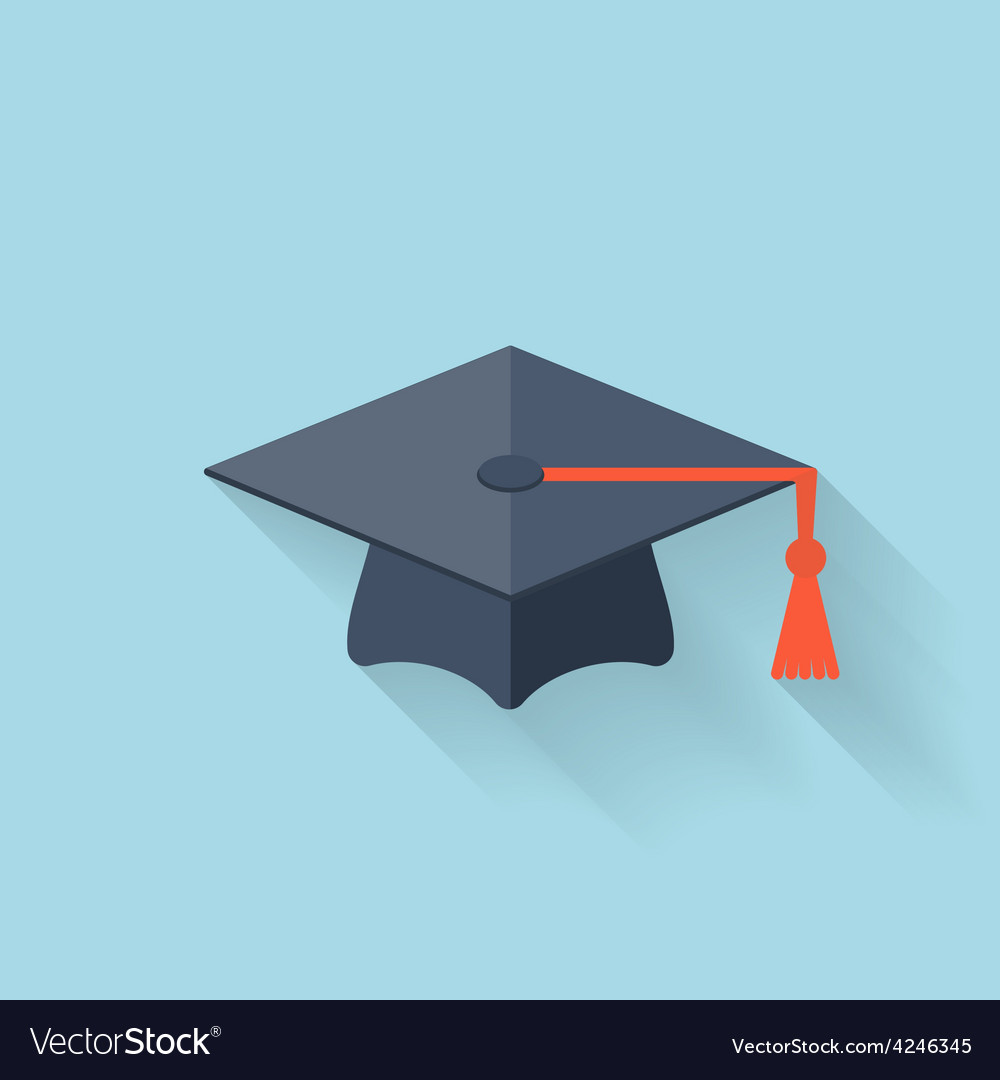 Graduation academic cap flat icon vector | Price: 1 Credit (USD $1)