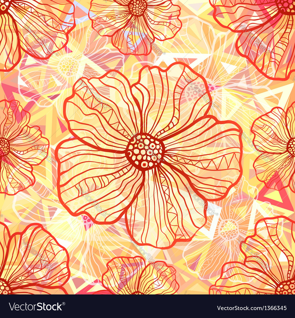 Ornate orange flowers on abstract triangles vector | Price: 1 Credit (USD $1)