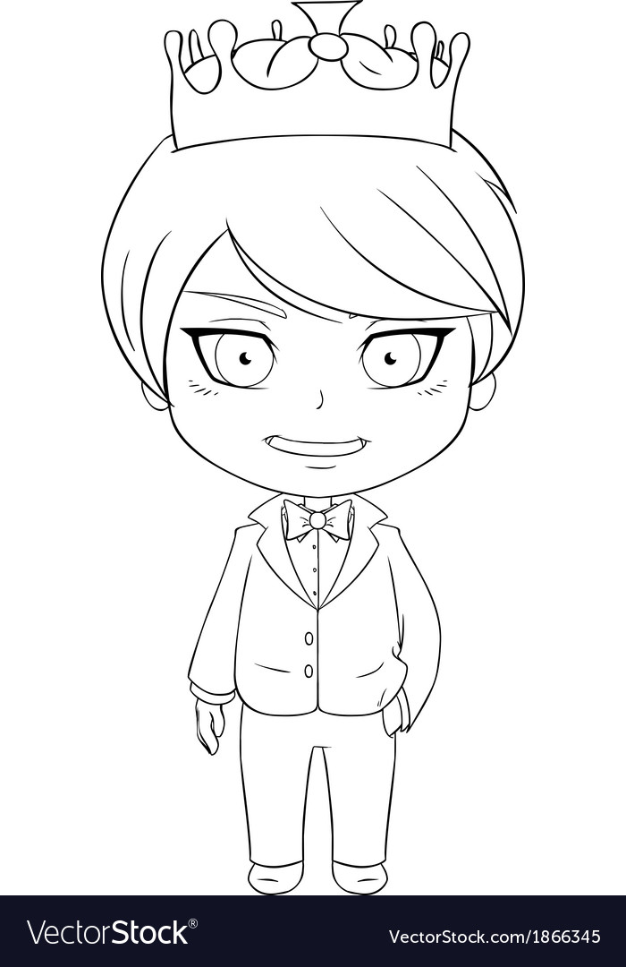 Prince coloring page 1 vector | Price: 1 Credit (USD $1)