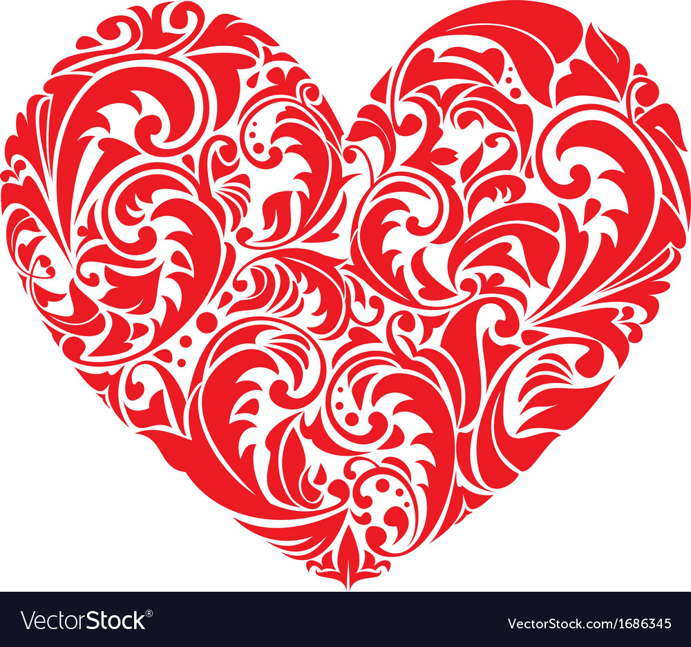 Red ornamental floral heart on white background vector | Price: 1 Credit (USD $1)