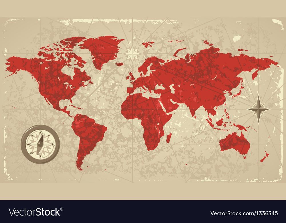 Retro map of the world vector | Price: 1 Credit (USD $1)